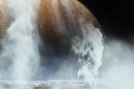Луна Юпитера Европа выбрасывает воду из своего подземного океана в космос